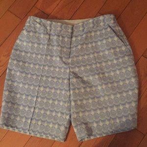 Diane Von Furstenberg blue Patterned Shorts Sz 8
